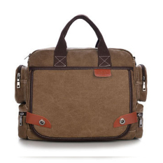 Men's Casual Durable Washed Canvas Travel School Business Laptop Bag (Brown)