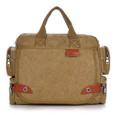Men's Casual Durable Washed Canvas Travel School Business Laptop Bag (Yellow)