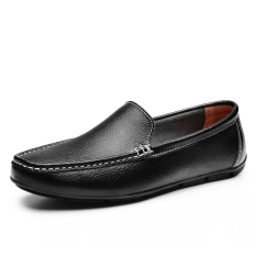 Men's Casual Leather Shoes British Style Low Cut Breathable Shoes Men's Casual Doug Shoes (Black) (Intl)