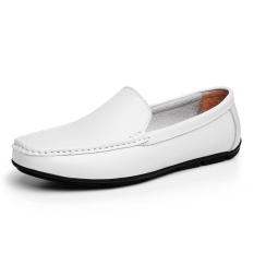 Men's Casual Leather Shoes British Style Low Cut Breathable Shoes Men's Casual Doug Shoes (White) (Intl)