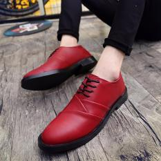Men's Casual Shoes British Business Leather Shoes New Wedding Shoes Strap Low Men's Shoes Red -intl