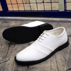 Men's Casual Shoes British Business Leather Shoes New Wedding Shoes Strap Low Men's Shoes White