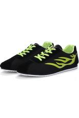 Men's Casual Shoes Low Cut Skater Shoes Canvas Shoes (Black / Green)