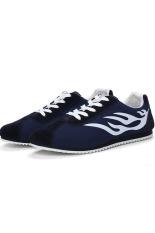 Men's Casual Shoes Low Cut Skater Shoes Canvas Shoes (White / Blue)
