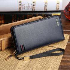 Men's Clutch Bag Zipper Long Hand Wallet Business Casual Men's Handbags Leather - Blue