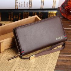 Men's Clutch Bag Zipper Long Hand Wallet Business Casual Men's Handbags Leather - Brown