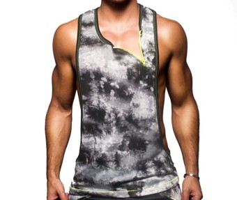 Men's Cotton Vigor Gym Tank Tops Low Cut Side Holes Racer-cut Back Vest (Intl)