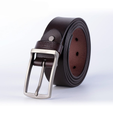 Men's Fashion Buckle Belt All-match Cowhide Belt Business Casual Leather Belt 125CM- Coffee