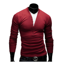 Men's Fashion Casual Leave Two Long-sleeved V-neck T-shirt Red (Intl)
