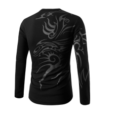Men's Fashion Casual Round Neck Long-sleeved T-shirt Printing Tattoo Black (Intl)