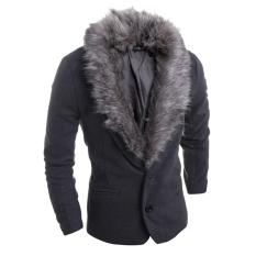 Men's Fashion Casual Slim Fur Collar Thickening Woolen Suit Dark Grey (Intl)
