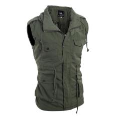 Men's Fashion Casual Slim Sleeveless Jackets Army Green (Intl)