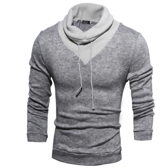Men's Fashion Casual Solid Color High-necked Sweater Knitting Light Grey