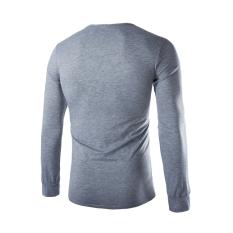 Men's Fashion Casual V-Neck Long-Sleeved T-Shirt Light Grey (Intl)