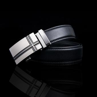 Men's Fashion Leather Belt Automatic Buckle Belt Black - Intl