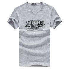 Men's Fashion Round Neck Short Sleeve Solid Color Slim T-Shirt Cotton Shirt Grey (Intl)