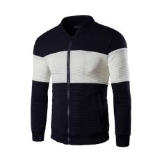 Men's Fashion Slim Fit Stitching Jacket with Pockets (Black) (Intl)