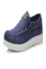 Men's Fashionable Breathable Denim Canvas Shoes (Deep Blue) (Intl)