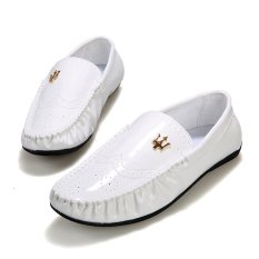 Men's Flat Shoes Casual Loafers (White)