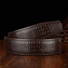 Men's Genuine Cowhide Leather Crocodile Embossed Pattern Wide Belts Without Headband-Coffee