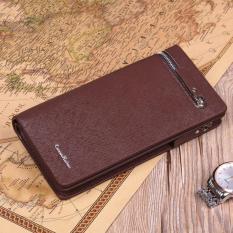 Men's Genuine Leather Retro Clutch Wristlet Handbag Zip-Around Cellphone Wallet (Cofee) - Intl