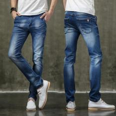 Men's Hole Jeans Straight Slim Fit Jeans Casual Denim Pants Male Pants Trousers - Intl