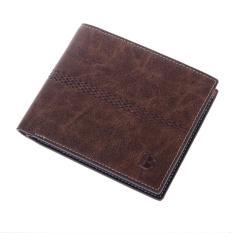 Men's Leather Bifold Purse Wallet Billfold Handbag Slim (Light Coffee Cross-section)