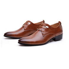 Men's Leather Pointed Toe Lace Up Wedding Formal Shoes Brown