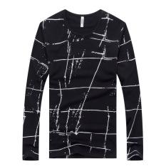 Men's Long Sleeved T-shirtabstract Pattern Black