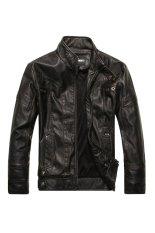 Men's Motorcycle Leather Jacket (Black) (Intl)