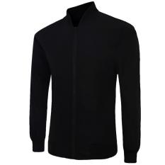 Men's New Fashion Slim Long-Sleeved Rashguard Pure Color (Black)