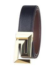 Men's OH131003 Full Grain Leather Belt Pin Buckle Black