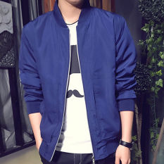 Men's Padded Bomber Jacket Slim Coat Zipper Outwear (Navy) - Intl
