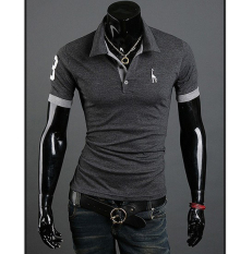 Men's Polo Shirt Short Sleeve Casual Slim Fit Cotton Solid Fashion Shirts Male Plus Size M-3XL Grey