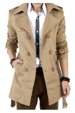 Mens Slim Double Breasted Trench Coat Autumn Winter Long Jacket Overcoat Outwear-Khaki
