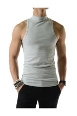 Mens Slim Fit Sexy High Neck Tank Top 100% Cotton Sleeveless Tshirts GRAY - Intl
