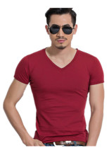 Men's Sports Cotton Casual Short Sleeve T-Shirts (Red) - Intl