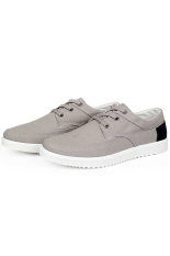 Men's Sports Shoes Lace-up Canvas Sneaker (Gray)