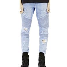 Mens Straight Slim Fit Denim Trousers (Light Blue)