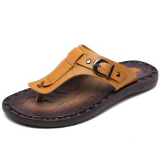 Men's Summer Sandals, Casual Slippers, Breathable Leather Sandals(Yellow) (Intl)