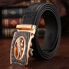 Men's Top Grade Leather Automatic Buckle Belt MBT021141-1 (Black + Gold Buckle)