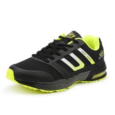 Menstruasi olahraga sepatu tenis renda dengan bantalan udara busana kasual sepatu lari Badminton (hijau hitam) - International