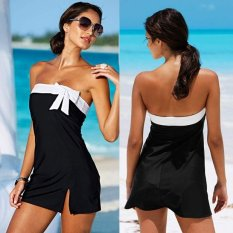 MG Summer Beach Wear Dress Bow Black Mini Holiday Sexy Swimwear Tunics Beachwear Clothes (Black) - intl