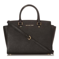 Michael Kors Selma Large Saffiano Leather Satchel – Hitam