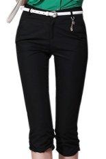 Mid Waist Cotton Spandex Regular Womens Pants Black