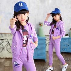 MIDIMINI Shishang gadis gadis kecil anak besar pakaian anak-anak (Violet)