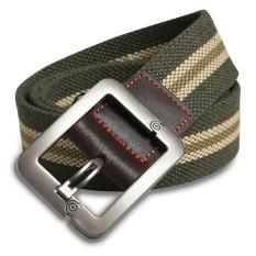 Military Style Unisex Single Grommet Adjustable Canvas Belt Web Belt Woven Belt Army Green Stripes 120cm- Intl