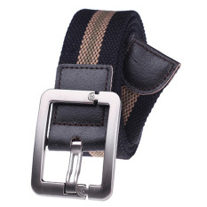 Military Style Unisex Single Grommet Adjustable Canvas Belt Web Belt Woven Belt Black Stripes 120cm - Intl