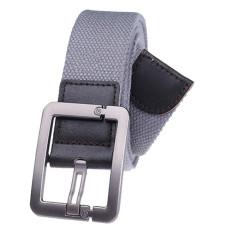 Military Style Unisex Single Grommet Adjustable Canvas Belt Web Belt Woven Belt Grey 115cm - Intl