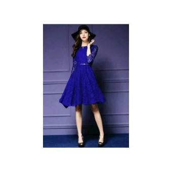 Mini Dress Brukat Biru Blue Elegant CR / Dress Pesta Brukat Biru CR